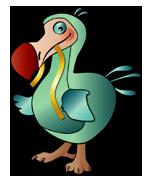 Logo von ark-noodlez.de, ein Dodo mit Nudel!
